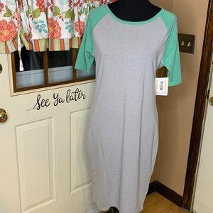 LuLaRoe Julia dress green/gray size large NWT.